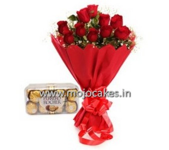 12 red roses with ferrero rochers chocolates
